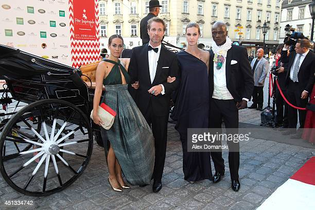 Bianca Schwarzjirg Michael Urban Melanie Scheriau and Papis Loveday arrie at the Fete Imperiale summer ball at Spanische Hofreitschule on June 27...