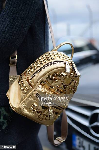 Bianca Somer carries a hand bag by MCM during Mercedes Benz Fashion Week Istanbul FW15 on March 16 2015 in Istanbul Turkey