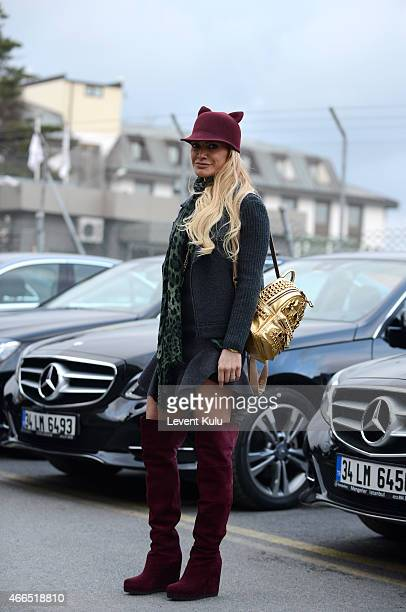 Bianca Somer poses wearing Isabel Marant and a hand bag by MCM and shoes by Helene Birman during Mercedes Benz Fashion Week Istanbul FW15 on March 16...