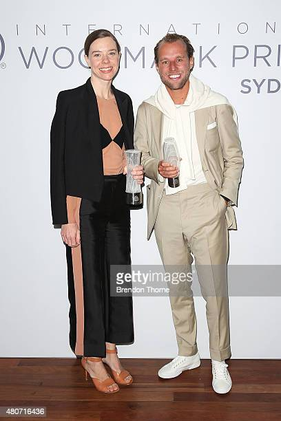 Bianca Spender and Patrick Johnson pose with their awards for best womenswear and menswear following the the International Woolmark Prize Australia...