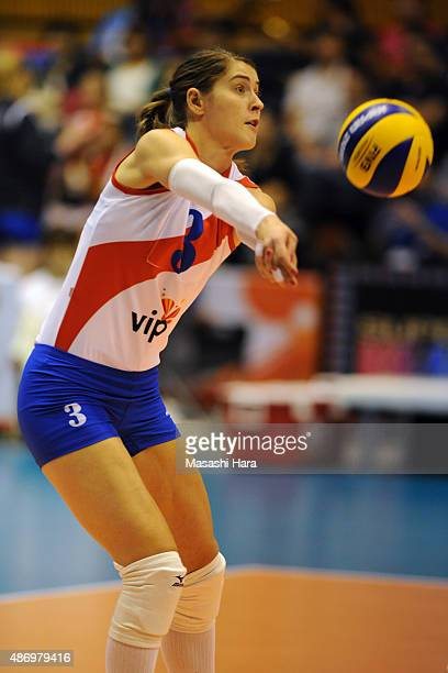 Bianka Busa of Serbia receives the ball during the match between Kenya and Serbia during the FIVB Women's Volleyball World Cup Japan 2015 at Park...