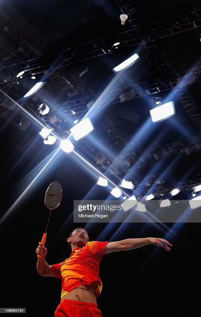 Biao Chai of China competes during his Men's Doubles Badminton match against Mathias Boe and Carsten Mogensen of Denmark on Day 4 of the London 2012 Olympic Games at Wembley Arena on July 31, 2012 in London, England.