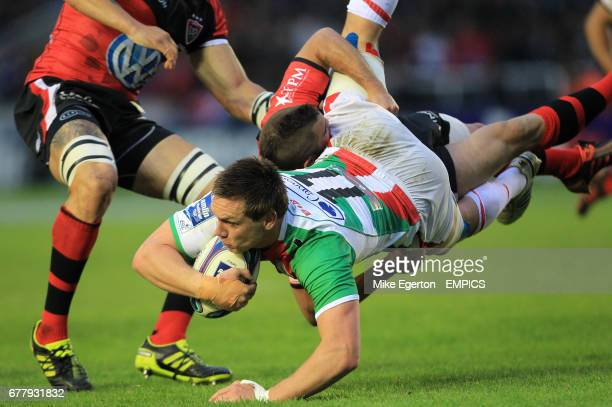 Biarritz Olympique Pays Basque's Dane HaylettPetty and Toulon's Alexis Palisson
