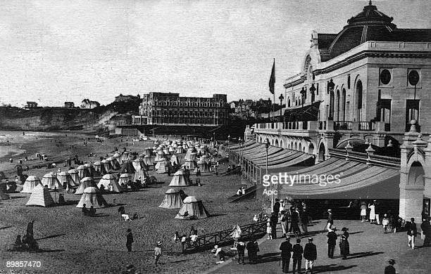 Biarritz the great beach and the casino postcard c 1910