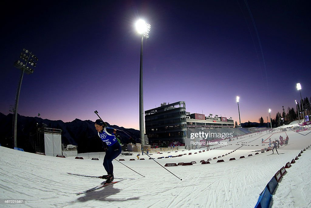 Biathlete <a gi-track='captionPersonalityLinkClicked' href=/galleries/search?phrase=Ann+Kristin+Flatland&family=editorial&specificpeople=2543411 ng-click='$event.stopPropagation()'>Ann Kristin Flatland</a> of Norway practices ahead of the Sochi 2014 Winter Olympics at the Laura Cross-Country Ski and Biathlon Center on February 6, 2014 in Sochi, Russia.