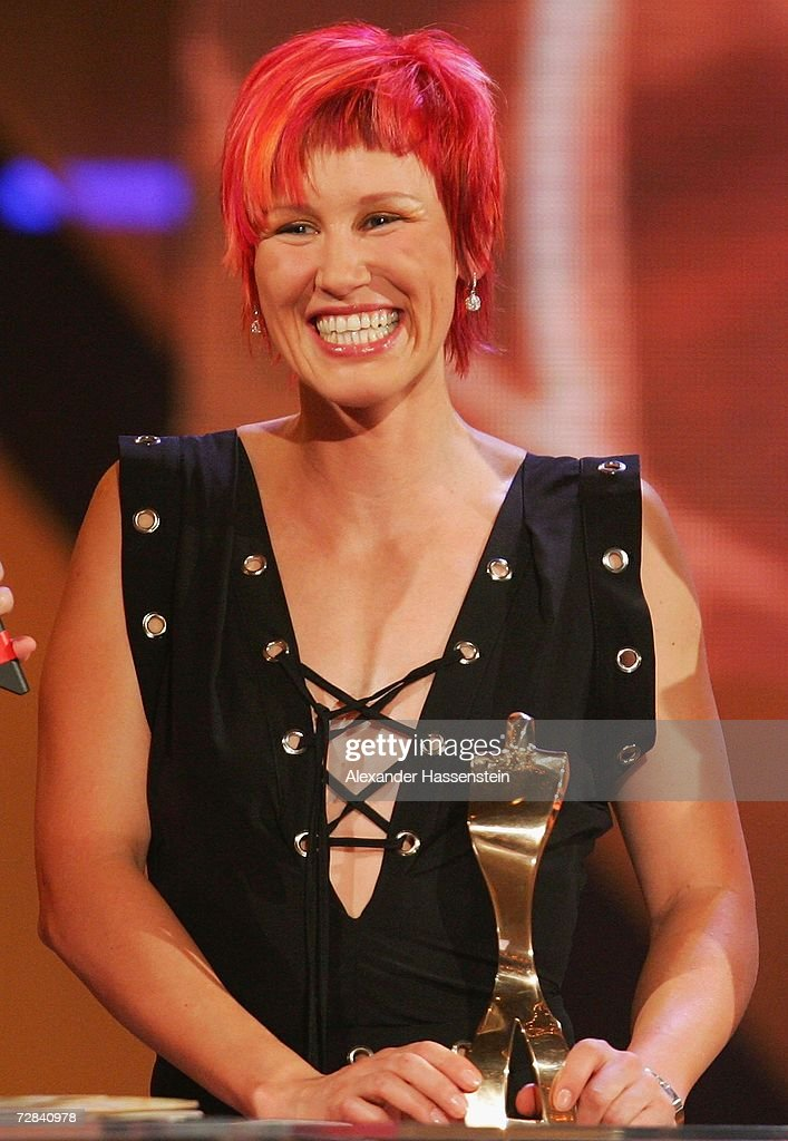 Biathlete Kati Wilhelm award winner of the 'Best Sportswomen of the Year 2006' smiles during the 'Best Sportsman of the Year 2006' event at the...
