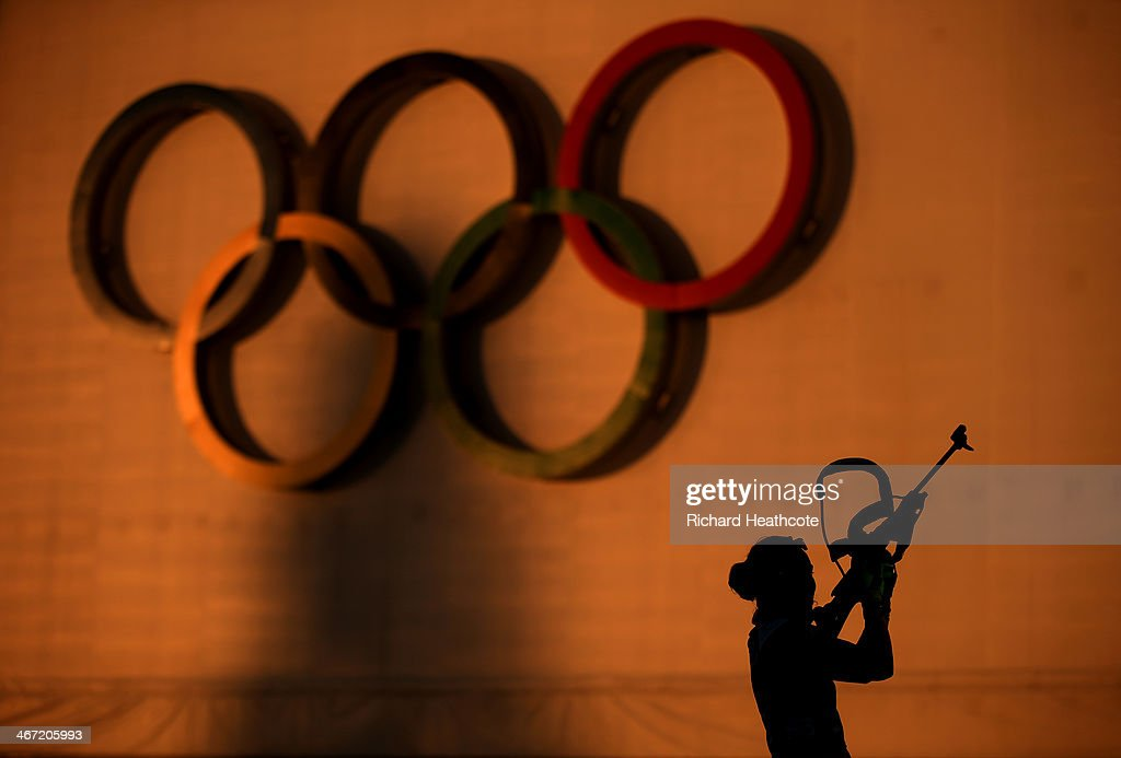 Biathlete <a gi-track='captionPersonalityLinkClicked' href=/galleries/search?phrase=Laura+Dahlmeier&family=editorial&specificpeople=10284324 ng-click='$event.stopPropagation()'>Laura Dahlmeier</a> of Germany shoots during a training session ahead of the Sochi 2014 Winter Olympics at the Laura Cross-Country Ski and Biathlon Center on February 6, 2014 in Sochi, Russia.