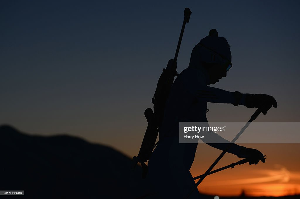 Biathlete Michela Ponza of Italy practices ahead of the Sochi 2014 Winter Olympics at the Laura CrossCountry Ski and Biathlon Center on February 6...