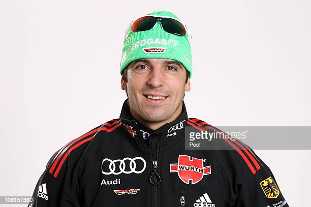 Biathlete Ricco Gross of Germany poses during a photo call on October 26 2010 in Ingolstadt Germany