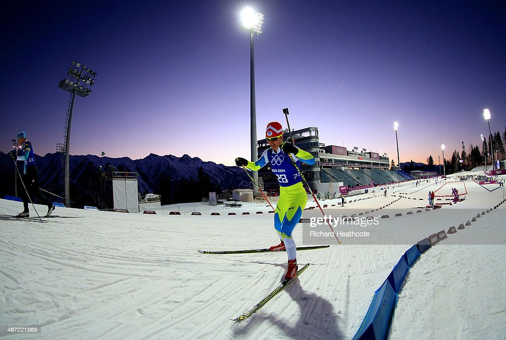 Biathlete <a gi-track='captionPersonalityLinkClicked' href=/galleries/search?phrase=Teja+Gregorin&family=editorial&specificpeople=876933 ng-click='$event.stopPropagation()'>Teja Gregorin</a> of Slovakia practices ahead of the Sochi 2014 Winter Olympics at the Laura Cross-Country Ski and Biathlon Center on February 6, 2014 in Sochi, Russia.