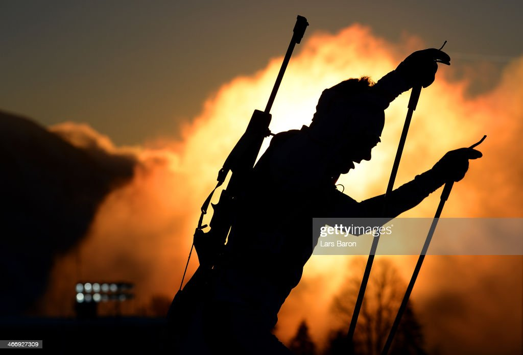 A biathlete trains ahead of the Sochi 2014 Winter Olympics at the Laura Cross-Country Ski and Biathlon Center on February 5, 2014 in Sochi, Russia.
