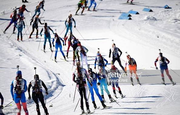 TOPSHOT Biathletes compete during the 2017 IBU World Championships Biathlon Women's 125 km Mass start race in Hochfilzen on February 19 2017 / AFP /...