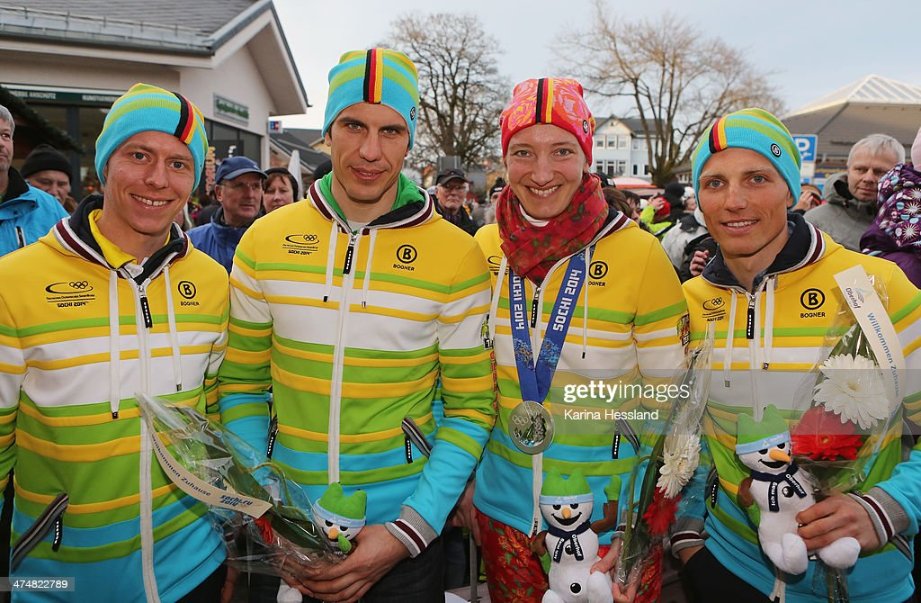 Biathletes Daniel Boehm, Arnd Peiffer, Luger Tatjana Huefner and Biathlete Erik Lesser at the Welcome Home Reception Held for Thuringian Olympic Athletes on February 25, 2014 in Oberhof, Germany.