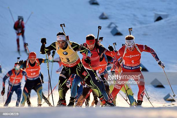 Biathlets compete during the Men 15 km Mass Start at the IBU Biathlon World Championship in Kontiolahti Finland on March 15 2015 AFP PHOTO/KIRILL...