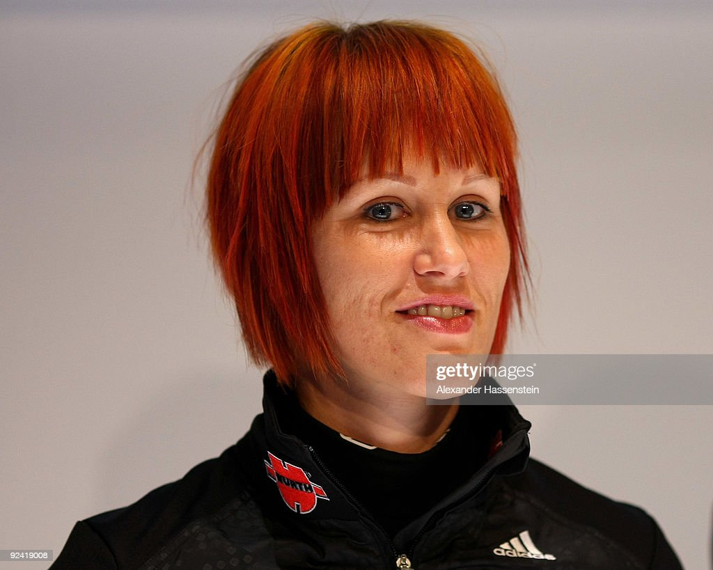 Biathlon athlete Kati Wilhelm looks on during a press conference at the German athlete Winter kit preview at the adidas Brand Center on October 28...