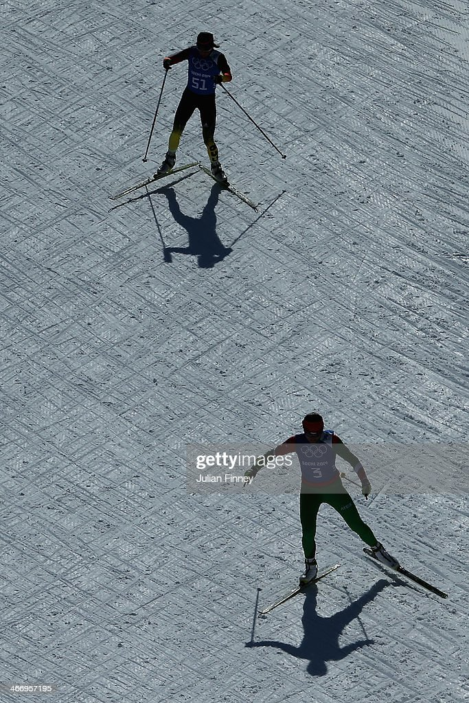 Biathlon athletes practice ahead of the Sochi 2014 Winter Olympics at the Laura Cross-Country Ski and Biathlon Center on February 5, 2014 in Sochi, Russia.