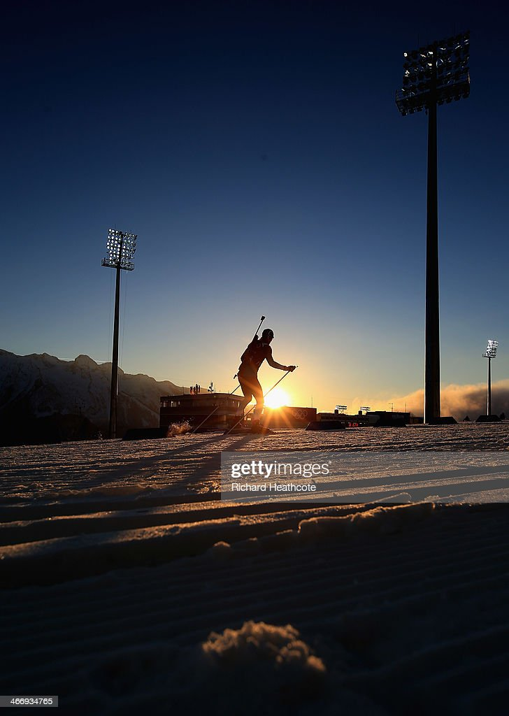 Biathlon athletes practise ahead of the Sochi 2014 Winter Olympics at the Laura Cross-Country Ski and Biathlon Center on February 5, 2014 in Sochi, Russia.