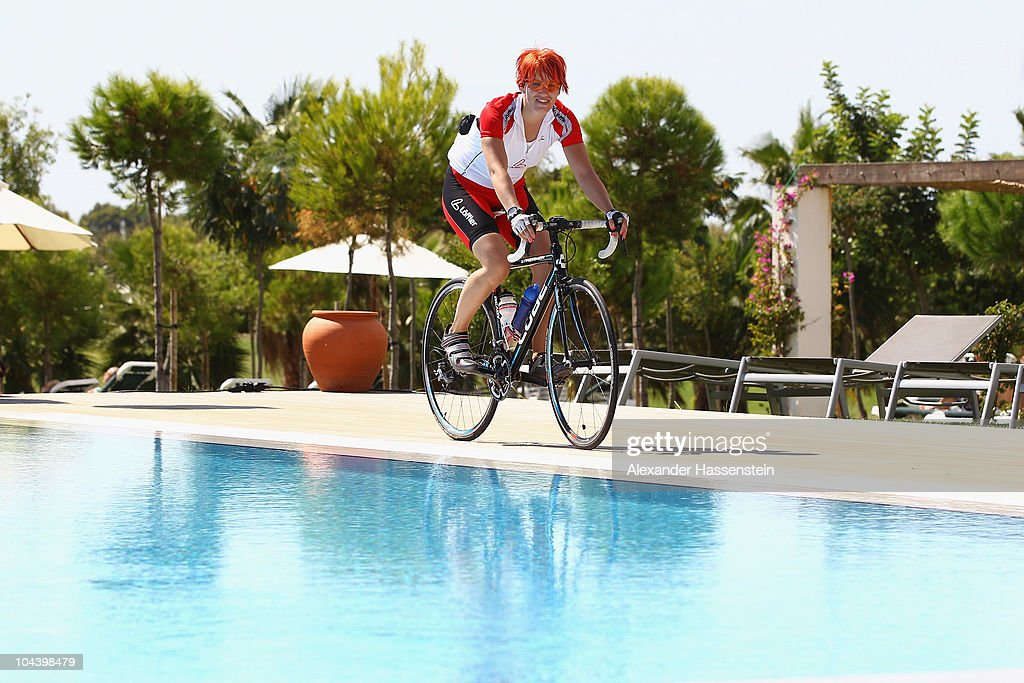 Biathlon Olympic champion Kati Wilhelm rides a racing cycle during the 'Champion des Jahres' event week at the Robinson Club Quinta da Ria on...