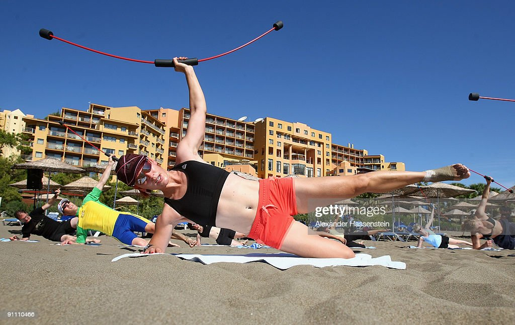 Biathlon World and Olympic Champion <a gi-track='captionPersonalityLinkClicked' href=/galleries/search?phrase=Kati+Wilhelm&family=editorial&specificpeople=213856 ng-click='$event.stopPropagation()'>Kati Wilhelm</a> attends at a fitness session during the 'Champion des Jahres' event week at the Robinson Club Sarigerme Park on September 24, 2009 in Mugla, Turkey. More than 60 top German athletes were invited by German holiday resort operator Robinson to relax at the Sarigerme Park Robinson Club resort for a week, as part of the company's 'Champion of the Year' competition.