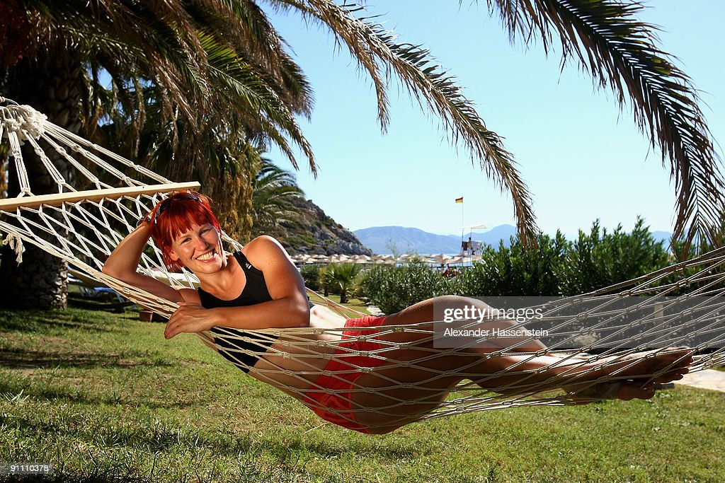 Biathlon World and Olympic Champion Kati Wilhelm relaxes during the 'Champion des Jahres' event week at the Robinson Club Sarigerme Park on September...