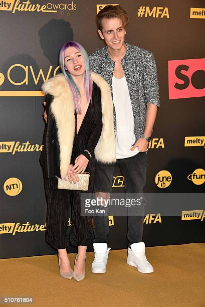 Bibi and Julienco attend The Melty Future Awards 2016 at Le Grand Rex on February 16 2016 in Paris France