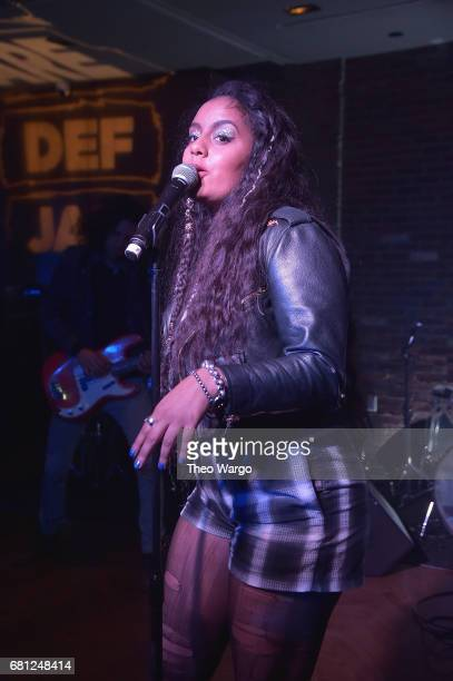 Bibi Bourelly performs at the 2017 Def Jam Upfronts presented by Honda Stage Pepsi Courvoisier and True Religion at Kola House NYC on May 9 2017 in...