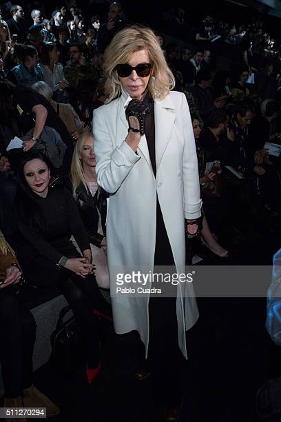 Bibi Fernandez attends the front row of David Delfin show during the MercedesBenz Madrid Fashion Week Autumn/Winter 2016/2017 at Ifema on February 19...