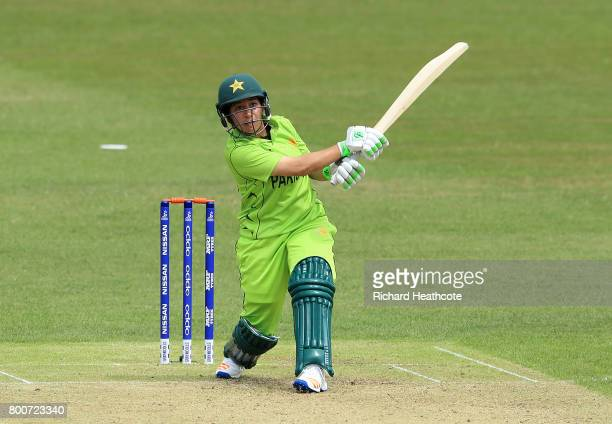 Bibi Nahida of Pakistan bats during the ICC Women's World Cup group match between Pakistan and South Africa at Grace Road on June 25 2017 in...