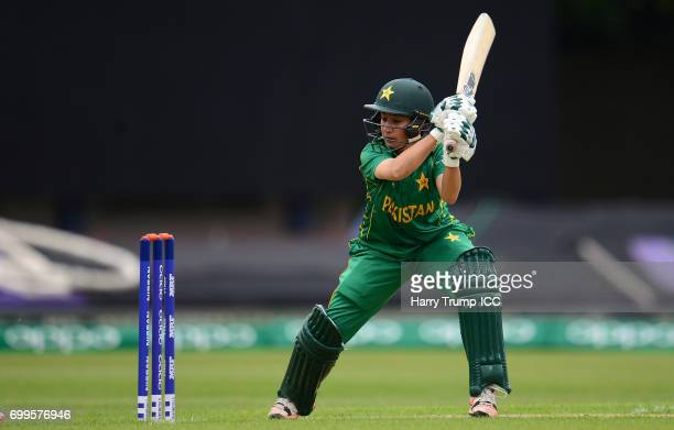 Bibi Nahida of Pakistan bats during the ICC Women's World Cup Warm Up Match between Australia and Pakistan on June 22 2017 in Leicester England