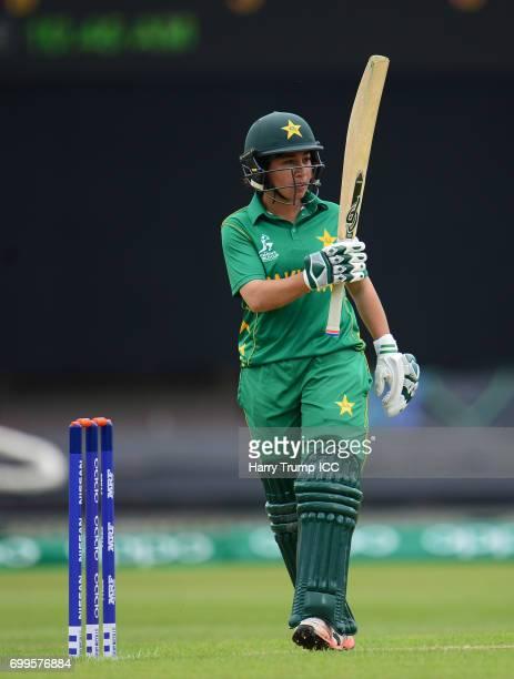 Bibi Nahida of Pakistan celebrates her half century during the ICC Women's World Cup Warm Up Match between Australia and Pakistan on June 22 2017 in...