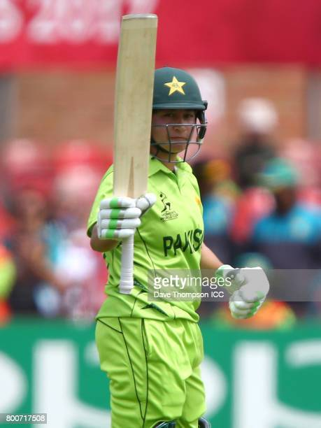 Bibi Nahida of Pakistan celebrates making her half century during the ICC Women's World Cup match between Pakistan and South Africa at Grace Road on...
