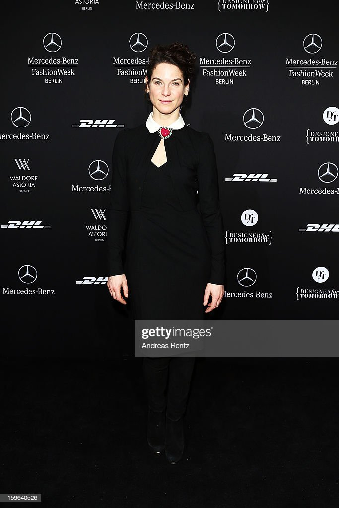 Bibiana Beglau attends Rena Lange Autumn/Winter 2013/14 fashion show during Mercedes-Benz Fashion Week Berlin at Brandenburg Gate on January 17, 2013 in Berlin, Germany.