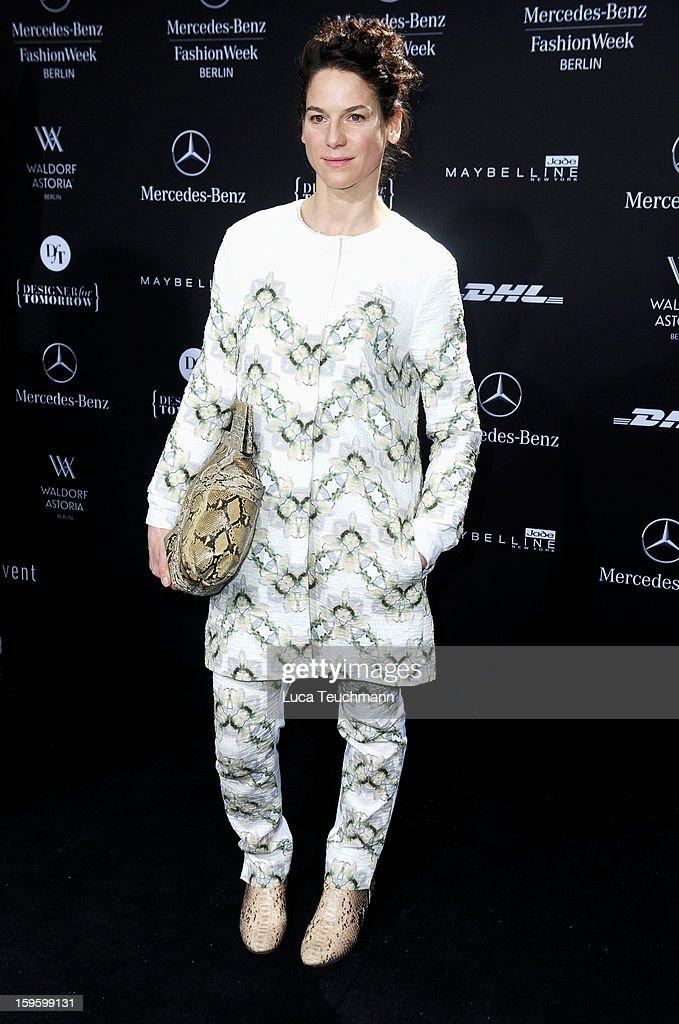Bibiana Beglau attends Schumacher Autumn/Winter 2013/14 Fashion Show during Mercedes-Benz Fashion Week Berlin at Brandenburg Gate on January 17, 2013 in Berlin, Germany. on January 17, 2013 in Berlin, Germany.