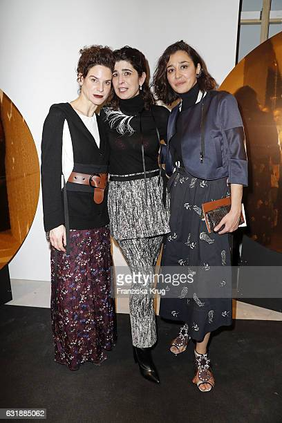 Bibiana Beglau designer Dorothee Schumacher and Dorka Gryllus are seen at the Dorothee Schumacher show during the MercedesBenz Fashion Week Berlin...