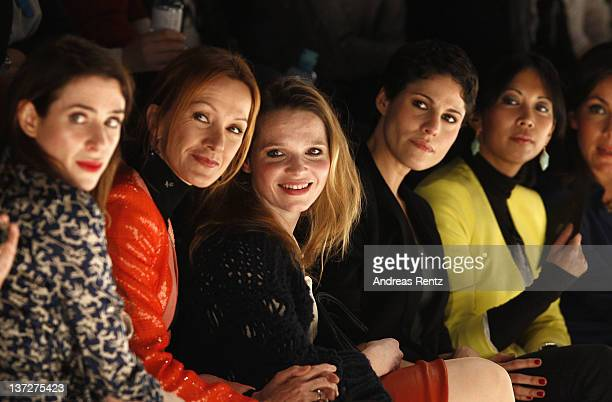 Bibiana Beglau Katja Flint Karoline Herfurth Jasmin Gerat and MinhKhai PhanThi sit in front row at the Alexandra Kiesel Autumn/Winter 2012 fashion...