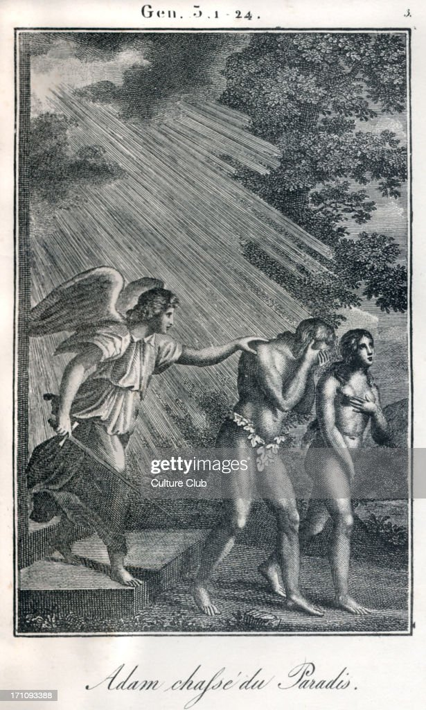 Bible, Adam and Eve being banished from Paradise / Garden of Eden. Fiery angel sending them out. Genesis