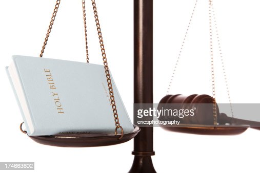 Bible And Gavel On Scale Stock Photo | Getty Images