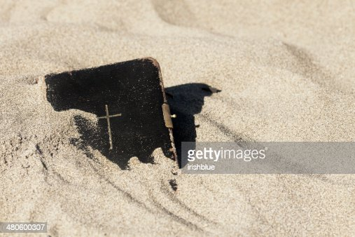 Bible in the Sand : Stock Photo