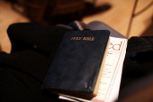 Bible is viewed during a service at Judson Memorial Church on National Homeless Persons Memorial Day on December 21 2011 in New York City The annual...