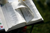 A bible lays opened to the Book of Job as part of a memorial to the victims of the Fort Hood shooting on the grounds of Casa Del Norte the apartment...