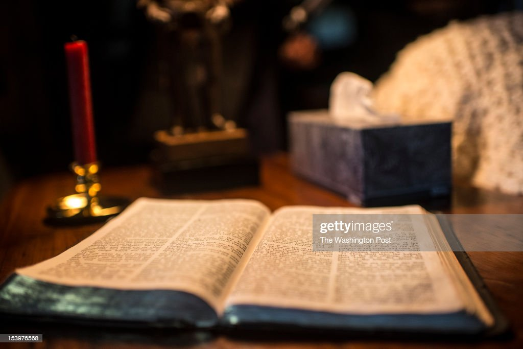 A bible sits on a living room as table, Republican nominee for President Governor Mitt Romney meets with Reverend Billy Graham, and son, Franklin Graham, at the Graham home on the top of a high ridge in Montreat, North Carolina, Thursday, October, 11, 2012.