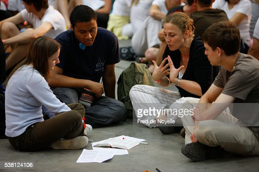 Bible study at a protestant gathering : Stock Photo
