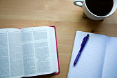 bible study in the morning with cup of coffee and notes