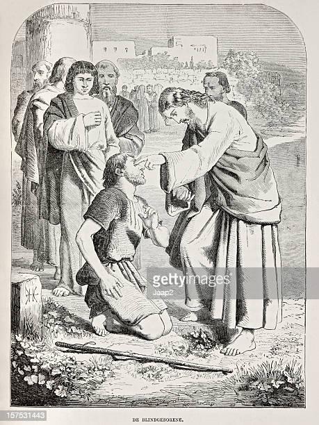 Gravure biblique représentant Jésus guérison l'homme aveugle, Gospels (1873