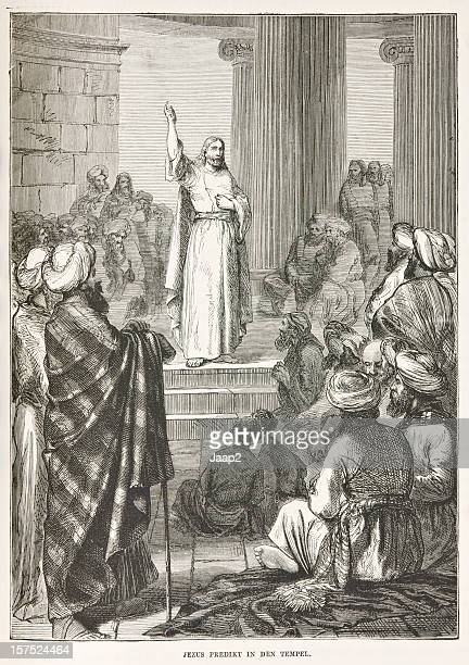 Biblical engraving depicting Jesus preaching in the temple (1873)
