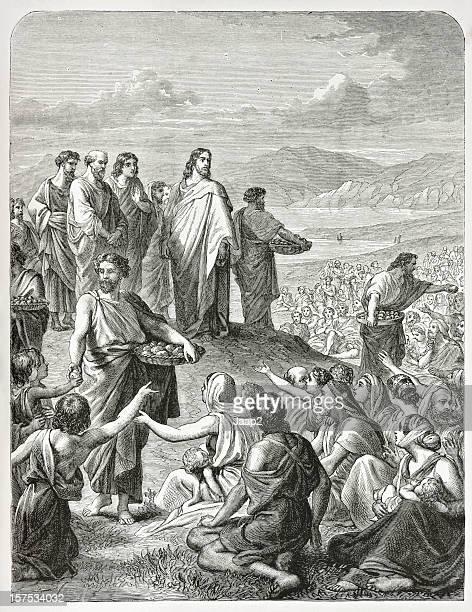 Biblical engraving (1873) of Jesus feeding the multitude (Gospel miracle)