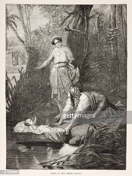 Biblical engraving, the finding of Moses by Pharaoh's daughter (1873)
