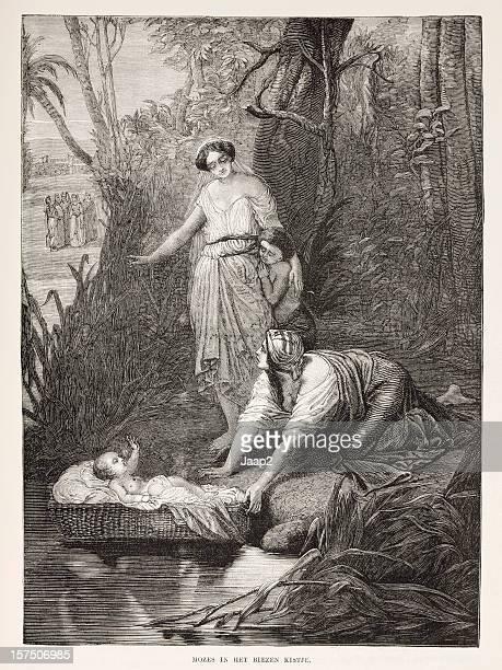 Gravure biblique, la recherche de Moses par Pharaohs fille (1873