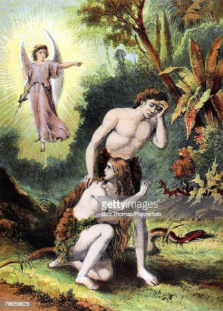 Biblical Scenes Old Testament Colour illustration entitled 'The expulsion' Adam and Eve now clothed and having sinned sent from the Garden of Eden by...