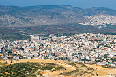 view of the biblical village Cana of Galilee ( Kafr Kanna ), neighborhood Nazareth in Israel, place where Jesus Christ showed first miracle